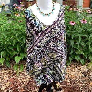 Roz & Ali sleeveless tribal lined top 3X